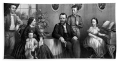 Beach Towel featuring the mixed media General Grant And His Family by War Is Hell Store
