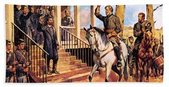 General Lee And His Horse 'traveller' Surrenders To General Grant By Mcconnell Beach Towel