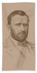 Beach Towel featuring the mixed media General Ulysses S Grant by War Is Hell Store
