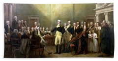 General Washington Resigning His Commission Beach Towel by War Is Hell Store