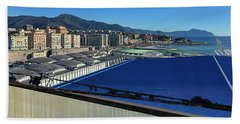 Genova Town Landscape From Abandoned Office Building Roof Beach Towel