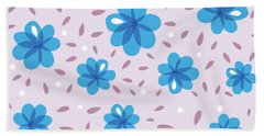 Gentle Blue Flowers Beach Towel