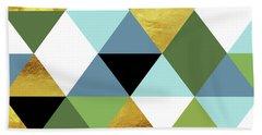Geometric Abstract 81, Triangles, Gold, Greenery, Niagara, Kale Beach Towel