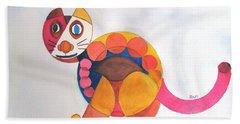Geometric Cat Beach Towel by Sandy McIntire