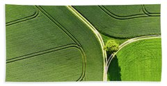Geometric Landscape 05 Tree And Green Fields Aerial View Beach Towel
