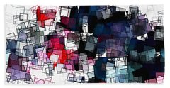 Geometric Skyline / Cityscape Abstract Art Beach Sheet by Ayse Deniz