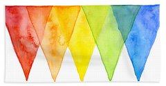 Geometric Watercolor Pattern Rainbow Triangles Beach Towel