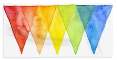 Geometric Watercolor Pattern Rainbow Triangles Beach Towel