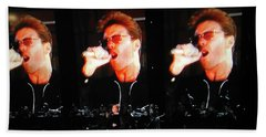 George Michael The Passionate Performer Beach Towel by Toni Hopper