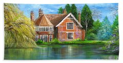 Beach Towel featuring the painting George Michaels Estate In Goring,england by Patrice Torrillo