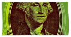 Beach Towel featuring the digital art George Washington - $1 Bill by Jean luc Comperat