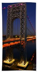 George Washington Bridge At Night Beach Towel