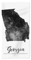 Georgia State Map Art - Grunge Silhouette Beach Towel