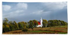 Beach Towel featuring the photograph German Church On The Hill by Yumi Johnson