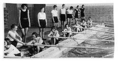 German Girls Learn Rowing Beach Towel