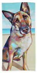 German Shepard On The Beach Beach Towel