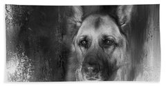 German Shepherd In Black And White Beach Sheet by Eleanor Abramson