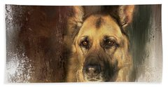 German Shepherd Portrait Color Beach Towel