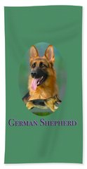 German Shepherd With Name Logo Beach Towel