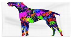 German Shorthaired Pointer Paint Splatter Beach Towel