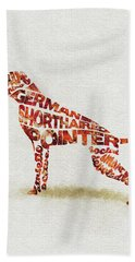 German Shorthaired Pointer Watercolor Painting / Typographic Art Beach Towel