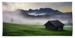 Geroldsee Forest With Beautiful Foggy Sunrise Over Mountain Peaks, Bavarian Alps, Bavaria, Germany. Beach Towel