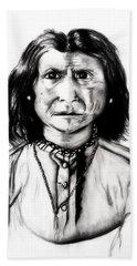 Beach Towel featuring the drawing Geronimo by Ayasha Loya