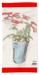 Gesture Drawing Of Poinsettia Beach Towel