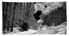 Beach Towel featuring the photograph Getting Air On The Snowboard by David Patterson