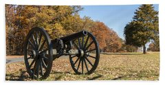 Gettysburg - Cannon In East Cavalry Battlefield Beach Sheet