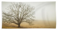 Tree In Fog - Blue Ridge Parkway Beach Sheet