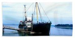 Ghost Ship - Trawler Beach Towel by Sadie Reneau