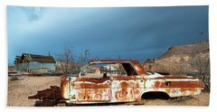Beach Towel featuring the photograph Ghost Town Old Car by Catherine Lau