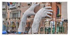 Giant Hands Venice Italy Beach Towel