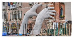 Giant Hands Venice Italy Beach Sheet