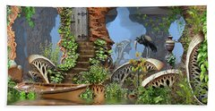 Giant Mushroom Forest Beach Towel by Hal Tenny