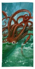 Giant Squid And Nautilus Beach Towel