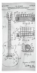 Gibson Les Paul Electric Guitar Patent Beach Towel by Taylan Apukovska