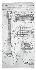 Gibson Les Paul Electric Guitar Patent Beach Sheet by Taylan Apukovska