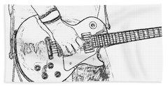 Gibson Les Paul Guitar Sketch Beach Towel