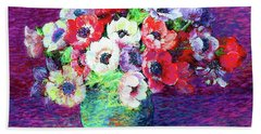 Gift Of Anemones Beach Towel by Jane Small