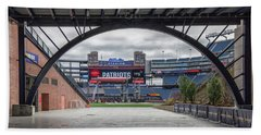 Gillette Stadium And The Four Super Bowl Banners Beach Sheet