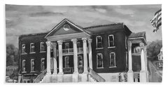 Gilmer County Old Courthouse - Black And White Beach Towel