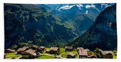 Gimmelwald In Swiss Alps - Switzerland Beach Sheet