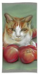 Ginger And White Cat Among The Tomatoes Beach Towel