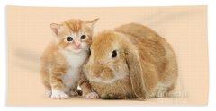 Ginger Kitten And Sandy Bunny Beach Towel