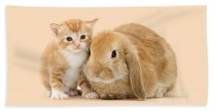 Ginger Kitten And Sandy Bunny Beach Sheet