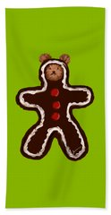 Beach Towel featuring the painting Gingerbread Teddy by Jean Pacheco Ravinski