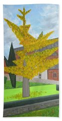 Gingko Tree At St. James Church Beach Sheet by Tamara Savchenko