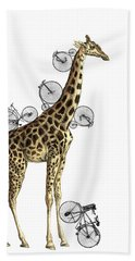 Giraffe And Bicycles Beach Towel